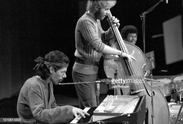 Member of Miles Davis Quintet American jazz pianist Chick Corea, British jazz bass player Dave Holland and American jazz drummer Jack de Johnette,...