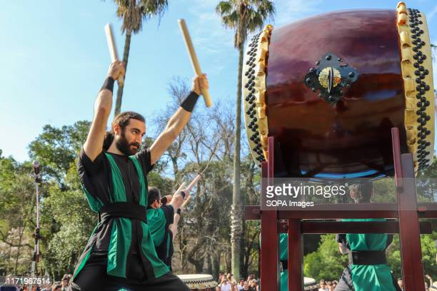 Member of Montevideo Taiko seen playing drums during the Japan Fest 2019 in Montevideo. Every year, the Japanese Embassy in Uruguay organizes the...