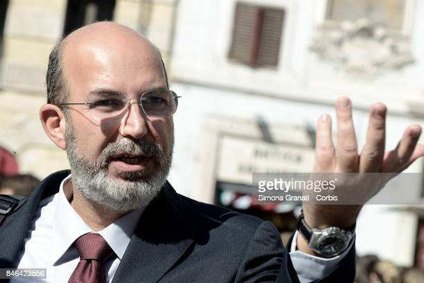 Member of Moviment five Stars Vito Crimi during the demonstration in Pantheon Square to solicit approval of a whistleblower law against corruption on...