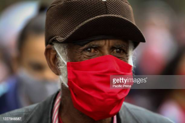 Member of MTST or Homeless Workers Movement protest demanding dignified housing and make its way through the Morumbi neighborhood towards the...
