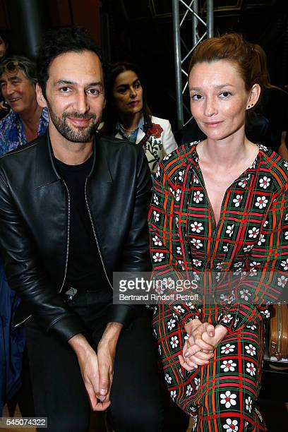 Member of Musica Group 'Aaron' Olivier Coursier and Audrey Marnay attend the Alexis Mabille Haute Couture Fall/Winter 20162017 show as part of Paris...