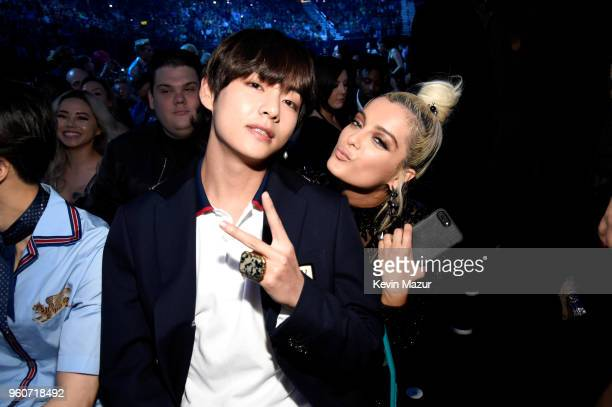 Member of musical group BTS and Bebe Rexha attend the 2018 Billboard Music Awards at MGM Grand Garden Arena on May 20 2018 in Las Vegas Nevada