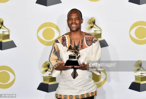 A member of musical group Ladysmith Black Mambazo Sibongiseni Shabalala winners of Best World Music Album for 'Shaka Zulu Revisited 30th Anniversary...