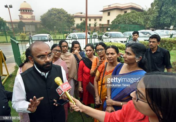 A member of National Ayyappa Devotees Association speaks to media at Supreme Court on November 13 2018 in New Delhi India Five judges led by Chief...