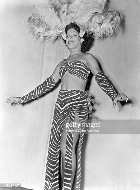 A member of Norma Miller's Dancers performing with Irwin C Miller's Brown Skin Models Harlem Road Show poses for a portrait circa 1938 in New York...