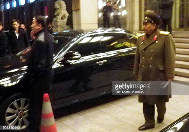 A member of North Korean female group Moranbong Band delegation leaves a hotel after discussion with Chinese officials on December 12 2015 in Beijing...