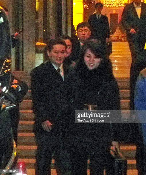A member of North Korean female group Moranbong Band leaves a hotel after discussion with Chinese officials on December 12 2015 in Beijing China The...
