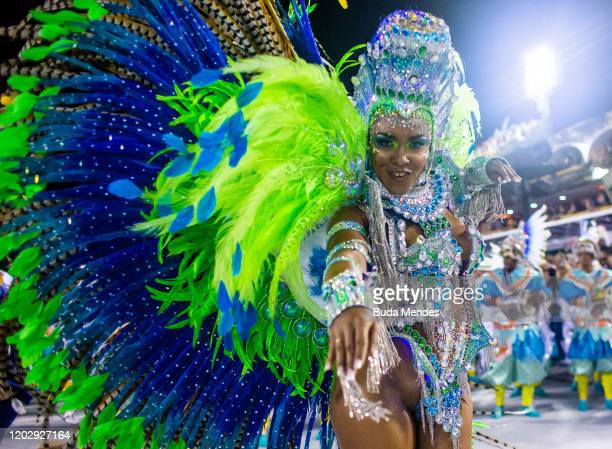 A member of Paraiso do Tuiuti samba school performs during the first night of 2020 Rio's Carnival Parades at the Sapucai Sambadrome on February 23...