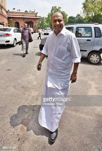 Member of Parliament and former Defence Minister A K Antony during the ongoing Monsoon Session at Parliament on August 2 2016 in New Delhi India