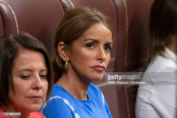 Member of Parliament for Ciudadanos party Patricia Reyes Rivera attends to the third day of the investiture debate at the Spanish Parliament on July...