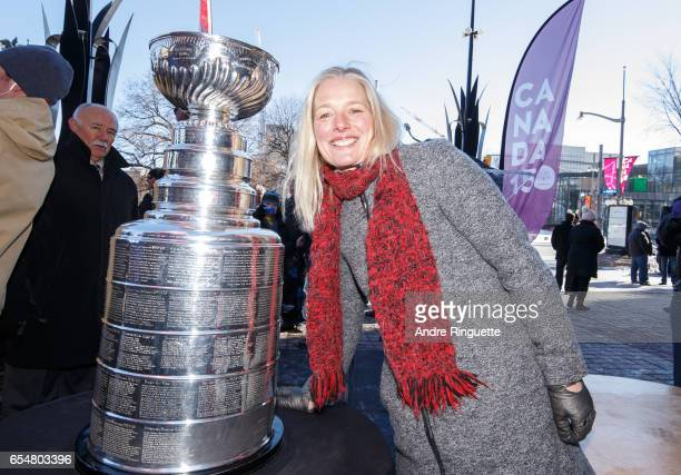 Member of Parliament for Ottawa Centre Catherine McKenna poses with the Stanley Cup during the Stanley Cup Monument Groundbreaking Ceremony on March...