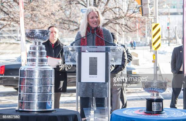 Member of Parliament for Ottawa Centre Catherine McKenna speaks during the Stanley Cup Monument Groundbreaking Ceremony on March 18 2017 in Ottawa...