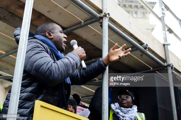 Member of Parliament for Tottenham David Lammy addresses a crowd of demonstrators on Portland Place in freezing conditions ahead of a march against...
