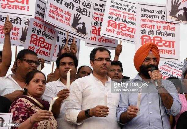 Member of Parliament from West Delhi Lok Sabha Constituency Parvesh Verma AAP rebel MLA Kapil Mishra and Mahendra Singh Sirsa during a protest...