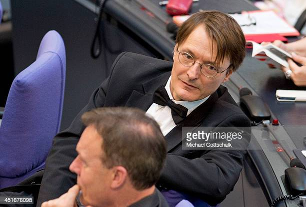 Member of parliament Karl Lauterbach attends the debate ton federal care insurance reformon July 04 2014 in Berlin Germany