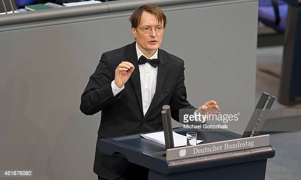 Member of parliament Karl Lauterbach holds a speech in german parliament bundestag during the debate ton federal care insurance reformon July 04 2014...