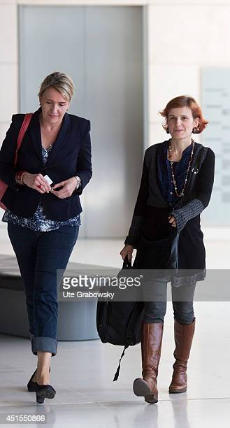 Member of Parliament Katja Kipping and German Greens Party coChairwoman Simone Peter arrive for a working session of their factions in German...