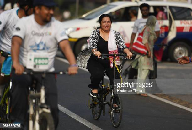 Member of Parliament Meenakashi Lekhi participates in a cycle rally on the occasion of World Bicycle Day 2018 after Vice President Venkaiah Naidu...