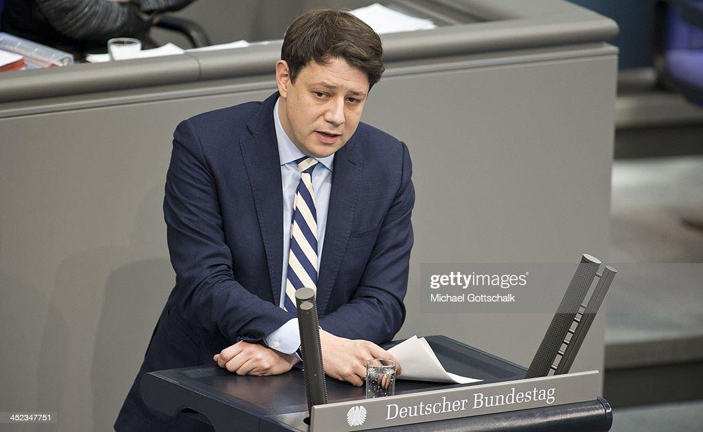 Member of Parliament Philipp Missfelder (CDU), speaks in German Bundestag during plenary session on November 28, 2013 in Berlin, Germany. The Bundestag debates the extensions of Bundeswehr mission in South-Sudan.