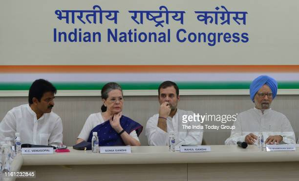 Member of Parliament Rahul Gandhi Indian Economist Manmohan Singh and Former President of Indian National Congress Sonia Gandhi clicked during CWC...
