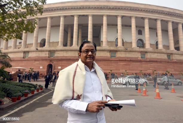 Member of Parliament Rajya Sabha P Chidambaram during the ongoing Parliament Winter Session on January 2 2018 in New Delhi India The government on...