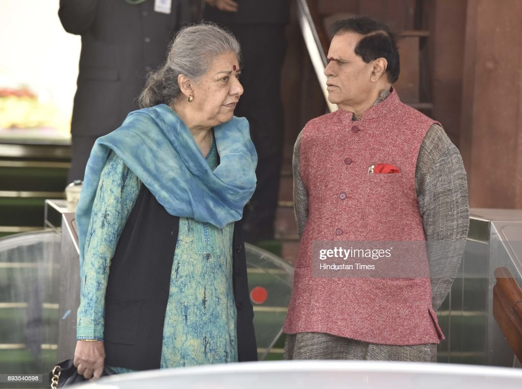 Member of Parliament representing the state of Punjab in the Rajya Sabha Ambika Soni talking with Congress Rajya Sabha MP T Subbarami Reddy after...