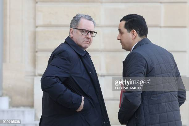 Member of parliament Richard Ferrand arrives at the Elysee Palace in Paris to listen to a speech on agriculture by the French president on February...
