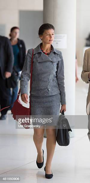 Member of parliament Sahra Wagenknecht arrives for a working session of CDUfaction in German Bundestag on July 01 2014 in Berlin Germany