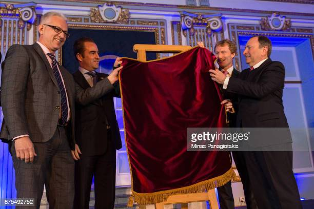 Member of Parliament Stephane Lauzon president and owner of the Montreal Canadiens Geoff Molson member of Parliament Marc Miller and NHL commissioner...
