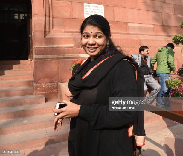 Member of Parliament Tamil Nadu in the Rajya Sabha Kanimozhi arrives to attend the Parliament Winter Session on January 4 2018 in New Delhi India The...
