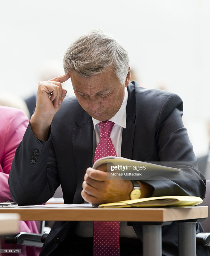 Member of Parliament Wolfgang Bosbach (CDU), attends a working session of CDU faction in German Bundestag on July 01, 2014 in Berlin, Germany.