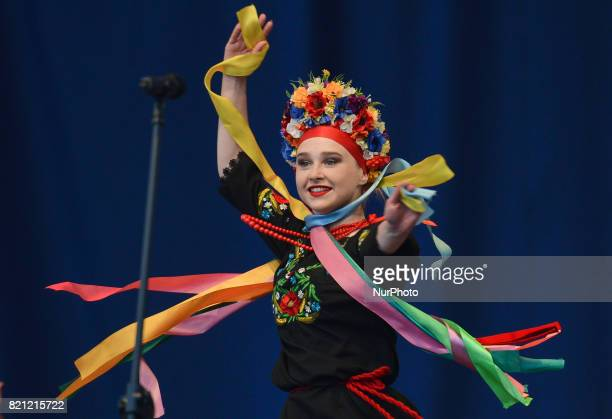 A member of 'Perla' group from Niemenczyn Lithuania during their performance on the first day of the 17th edition of World Festival of Polish...