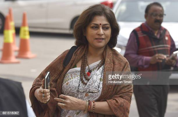 Member of Rajya Sabha Roopa Ganguly coming during the 2nd phase parliaments budgets session at parliaments House on March 102017 in New Delhi India...