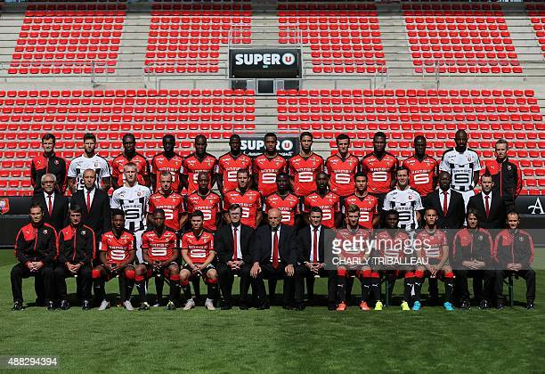 Member of Rennes football club Stade Rennais pose in the Roazhon Park stadium in Rennes western France on September 15 2015 Rennes' kine Jocelyn...