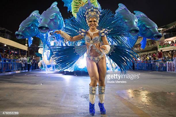 A member of Salgueiro Samba School performs during their parade at 2014 Brazilian Carnival at Sapucai Sambadrome on March 02 2014 in Rio de Janeiro...