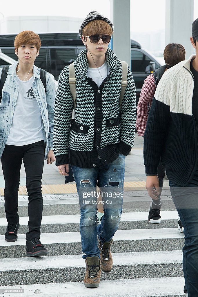 Member of South Korean boy band Boyfriend (Boy Friend) is seen on departure at Incheon International Airport on April 10, 2014 in Incheon, South Korea.