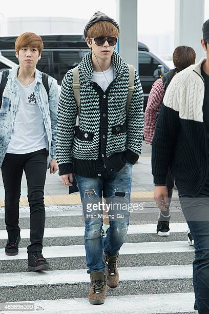 Member of South Korean boy band Boyfriend is seen on departure at Incheon International Airport on April 10 2014 in Incheon South Korea