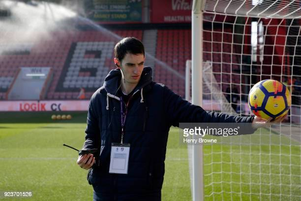 A member of staff tests the video assistant referee technology prior to the Premier League match between AFC Bournemouth and Newcastle United at...