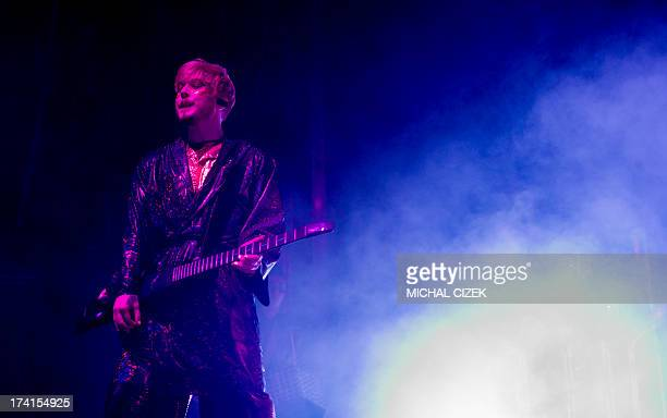 Member of Swedish band The Knife performs on the stage during the Colours of Ostrava music festival on July 20 2013 in Ostrava city North Moravia AFP...