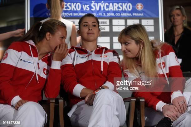 Member of Swiss Fed Cup team Belinda Bencic talks with her team mates Viktorija Golubic and Timea Bacsinszky during the International Tennis...