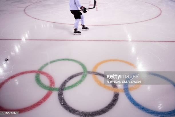 A member of Switzerland's women's ice hockey team practices at the Kwandong Hockey Centre prior to the Pyeongchang 2018 Winter Olympic Games on...