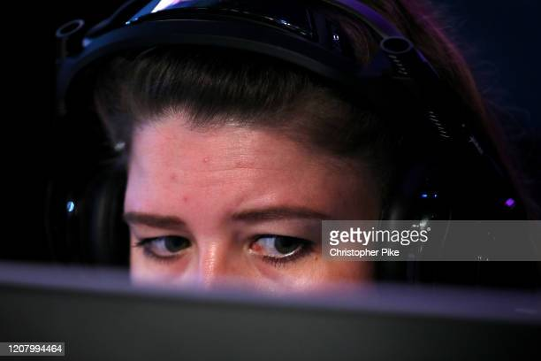 Member of Team Assassins in action during the CS:GO World Finals on Day Two of the Girl Gamer Esports Festival at Meydan Racecourse on February 22,...