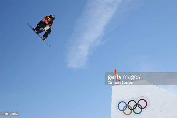 A member of Team Canada trains during the Snowboard practice session during previews ahead of the PyeongChang 2018 Winter Olympic Games at Phoenix...
