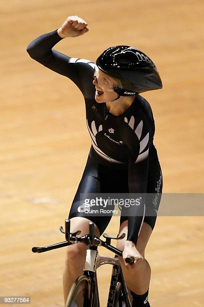 Member of team New Zealand celebrates winning the Women's Team Pursuit during day three of 2009 UCI Track World Cup at Hisense Arena on November 21,...