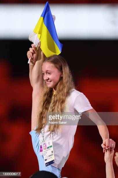 Member of Team Ukraine during the Closing Ceremony of the Tokyo 2020 Olympic Games at Olympic Stadium on August 08, 2021 in Tokyo, Japan.