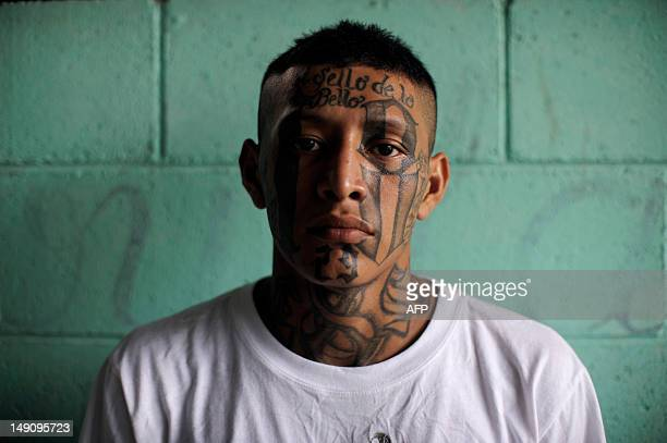 A member of the 18th street gang poses for a picture in the Quezaltepeque jail in the town of Quezaltepeque 25 kms west of San Salvador on July 22...