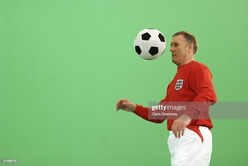 Member of the 1966 England World Cup team Sir Geoff Hurst is filmed for the video to accompany an England World Cup song 'Who Do You Think You Are Kidding, Jurgen Klinsmann' at Camden Studios on April 28, 2006 in London, England. British sporting celebrities Sir Geoff Hurst, Frank Bruno and Martin Peters and actor Bill Pertwee join the Tonedef All-Stars at the shoot. The single is due for release on May 29, 2006.