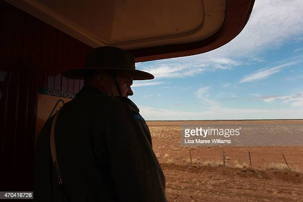 A member of the '1st Light Horse Regiment' looks out at the view from aboard the ANZAC Troop Train on April 20 2015 in Winton Australia The 2015...