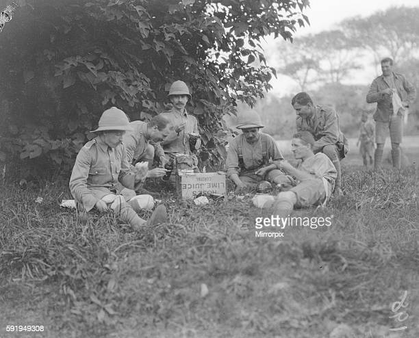 Member of The 1st Manchesters regiment part of the 3rd Indian Division seen here enjoying breakfast at the their rest camp on the race course at...