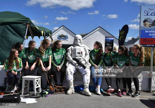 A member of the 501st Garrison attracts the attention of an Irish Dancing troupe on May 4 2019 in Portmagee Ireland The latest Star Wars movies such...